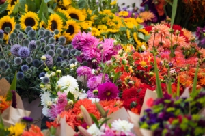Outdoor fresh flowers at farmers street market
